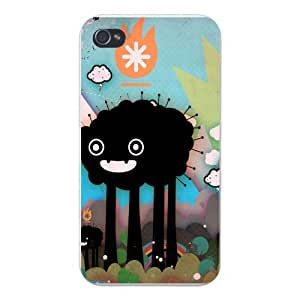 Apple Iphone Custom Case 5 / 5s White Plastic Snap on - Cartoon Sheep w/ Pins Black Silhouette w/ Colorful Background