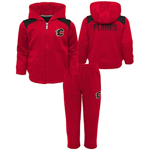 Outerstuff Calgary Flames Toddler Catcher Performance Zip-Up Hooded Jacket & Pant Set - Size 4T