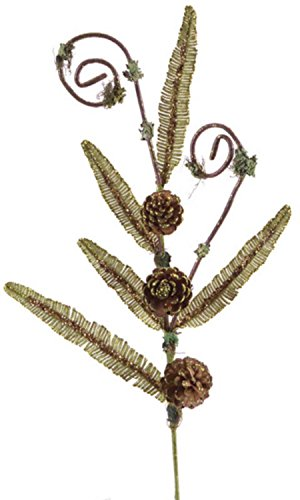 Pack of 6 Artificial Olive Green Fern and Pine Cone Glittered Sprays 29