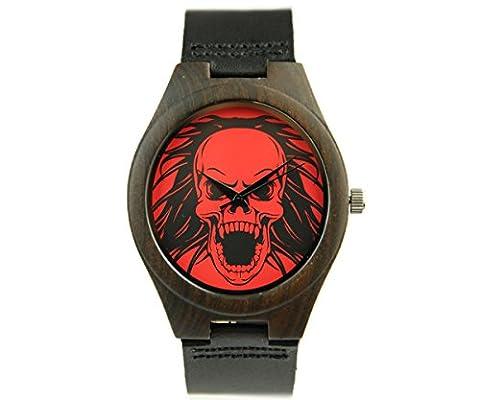 Blue Hole Halloween Horror Skull Walnut Wooden Watches Quartz with Cowhide Leather Strap. (Men¡¯s (Vegan Leather Watch Man)