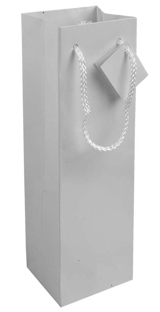 10 pezzi Sacchetto porta bottiglia (1 posto) in carta laminata (157 g/m2) con rinforzo alla base, maniglie in cordino e biglietto auguri (argento)