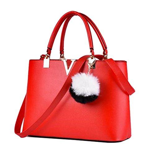 Style Handmade Red Womens Leather Bags Satchel Handbag Urban Messenger Yaancun Tote BXFqq