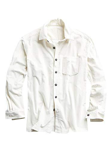 Mens Corduroy Button Down Shirt Rib Long Sleeve Standard Collar Vintage Casual Shirt-Jacket White