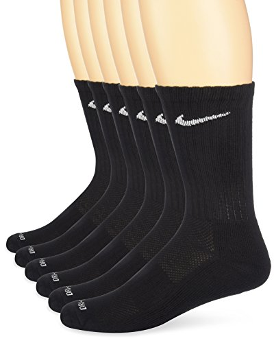 Nike Unisex Dry Cushion Crew Training Socks  6 Pair   Black White  Medium
