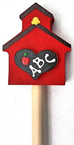 Wooden Pointer, AA-730SCH36 - 36'' MADE IN USA w/SCHOOLHOUSE & red rubber end cap, perfect for smart board screen. by AppleABC Teachers Gifts