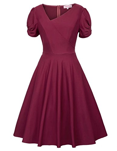 Belle Poque Casual V-Neck Short Puffy Sleeve Dress for Girls Wine Size S BP411-2 -