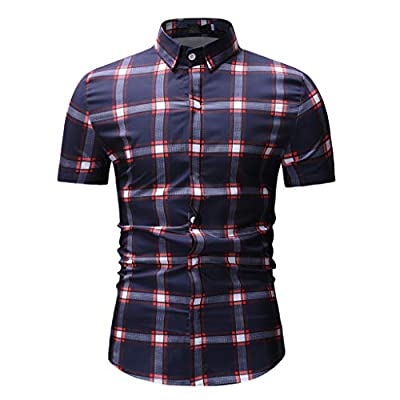 NUWFOR Mens Spring Winter Fashion Printed Casual Short Sleeve Slim Shirts Tops Blouse White