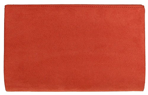 H Rust Bag Nude Clutch Faux Suede amp;G Envelope Red Plain ZrRHvwZ
