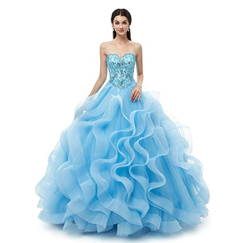 - Leyidress Quinceanera Dress Blue Prom Dresses Strapless Ball Gown Party Dress for Women 12
