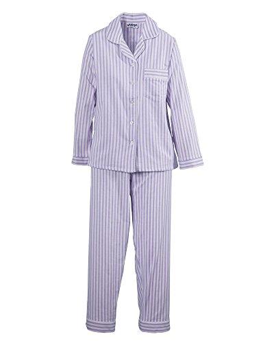 Pajama Pants Flannel Striped (National Long Sleeve Flannel Pajamas, Lilac, Medium)