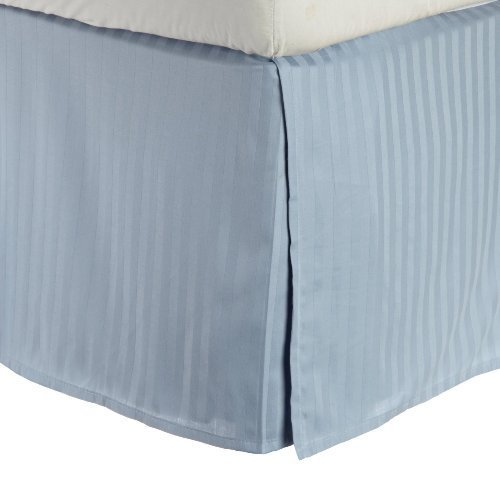 300 Thread Count Egyptian Cotton Stripe Bed Skirt Size: Twin, Color: Light Blue by Simple Luxury