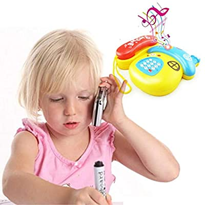 ladiy Kids Phone Toy Cute Cartoon Telephone Baby Early Education Music Toys Party Games & Crafts: Clothing