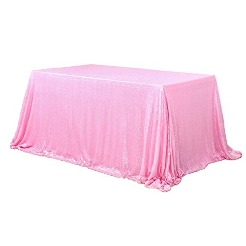 TRLYC 60 x 120-Inch Rectangular Sequin Tablecloth Blush Pink -