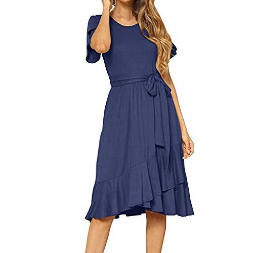 Women's Flowy Short Sleeve Midi Dress Summer Plain Casual Dress with Belt Dress Dark Blue (Gap Belted Belt)
