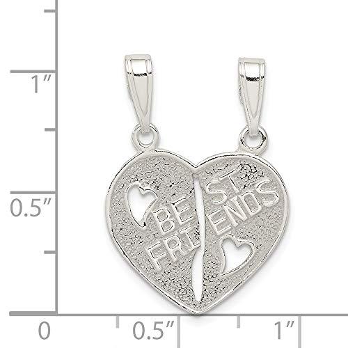 Sterling Silver Best Friends 2-Piece Break Apart Heart Charm (0.8IN long x 0.4IN wide)