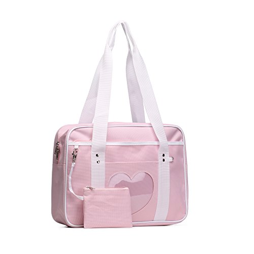 SteamedBun Ita Bag Heart Nylon Handbag Girls Women Bags Weekender Anime School Bag for Cosplay,Pink for $<!--$15.99-->