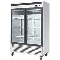 "54.5"" 2 Door Upright Stainless Steel Glass Window Reach In Freezer Merchandiser Display Case, MCF-8703, 45 Cubic Feet, Commercial Grade"