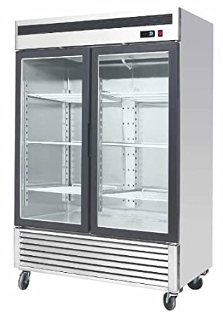 55-Inch Glass Two Door Merchandiser Upright Refrigerator MCF-8707 - Stainless Steel