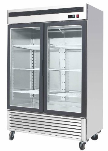 54.5″ 2 Door Double Door Upright Stainless Steel Glass Window Reach In Freezer Merchandiser Display Case, MCF-8703, 45 Cubic Feet, Commercial Grade
