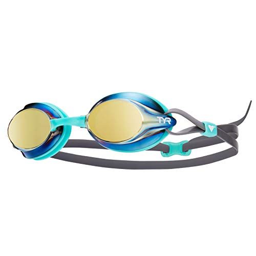 TYR Kids Velocity Mirrored Goggles, Gold/Mint/Grey, One Size
