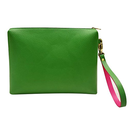Leather Wristlet Clutch Bag for Women's Evening Handbag Large Capacity Makeup Bag & Cosmetic Bag Wallet (Green-bag)