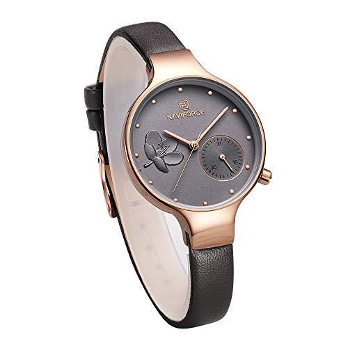 Womens Waterproof Leather Band Wrist Watches (Grey)