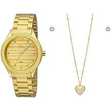 Kit Relógio Feminino Allora Colar e Brinco Dourado AL2035FIEK4Y