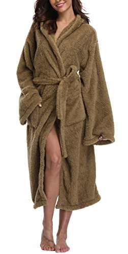 VIKEY Women's Plush Coral Velvet Robe Cozy Long Hooded Bathrobe Nightgown,Grass Green,Small / Medium Grass Coral