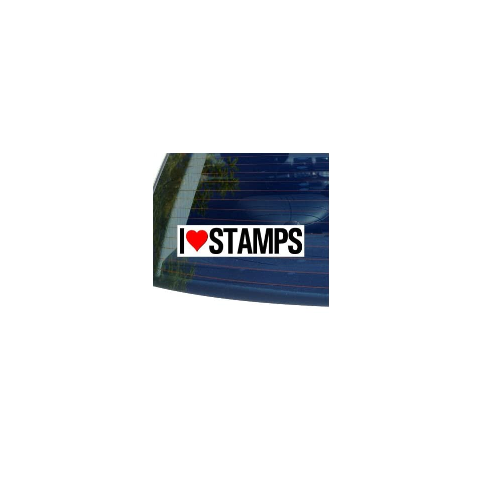 I Love Heart STAMPS   Window Bumper Sticker