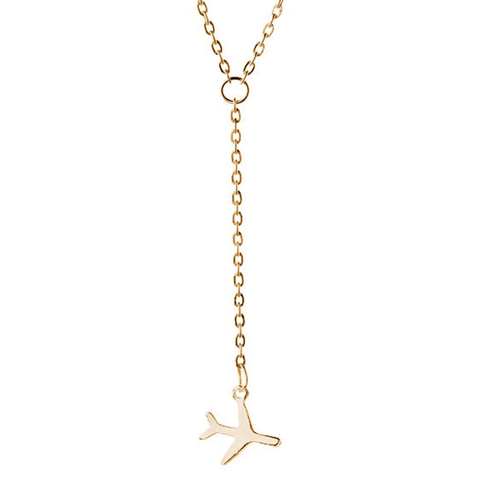 Stan-Deed Tiny Plane Necklace For Women Airplane Pendant Aircraft Chain Layered Necklace Travel Jewelry (Gold)