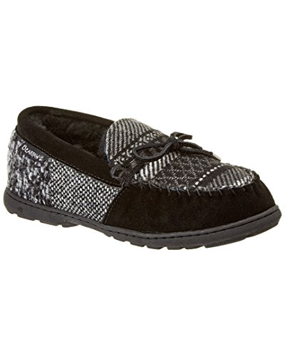 Bearpaw Women's Mindy Moccasin Slipper,Black Patchwork,US 8 (Suede Hardsole Moccasins)