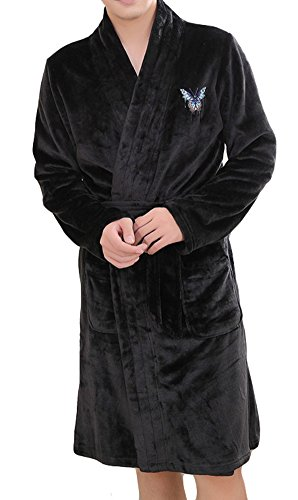 AGOWOO Mens Matching Couples Bath Robe Butterfly Flannel Bathrobe Black L by AGOWOO