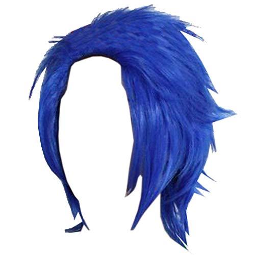 Mens Short Wig Cosplay Blue Wig Levy Mcgarden