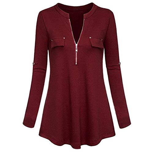 Henleys,Toimoth Fashion Womens Long Sleeve V Neck Casual Roll-up Sleeve Zipper Shirt Blouse Tops(Wine,L) 16 Flutter Sleeved Tee