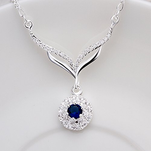 New arrived 925 sterling silver jewelry leafage link round blue stone crystal pendant necklace for women (Letter Link Style Name Bracelet)
