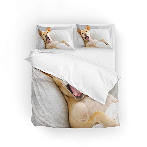 My Little Nest Duvet Cover Set Twin Size Dog is Resting Yawning Zipper Closure with 1 Pillow Case Microfiber Comfortable Durable