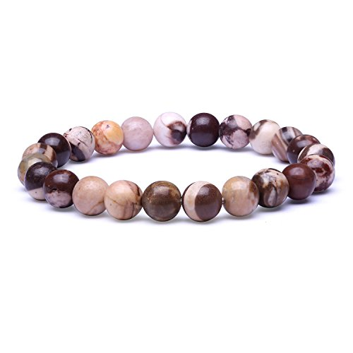 Candyfancy 8mm Natural Australian Zebra Jasper Stone Healing Elastic Beaded Stretch Bracelets for Women Men DIY Spiritual Bracelet for 7.5-9Inch Wrist (Natural Australian Zebra Jasper)