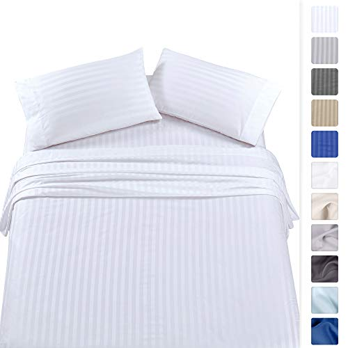 500-Thread-Count Queen Size Cotton Sheets - Premium Quality 4-Piece White Color Dobby Damask Stripe Long-Staple Pure 100% Cotton Sheet Set for Bed - Fits Mattress Upto 18'' Deep Pocket, Sateen ()