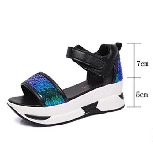 Transer Ladies Sequins High Platform Sandals- Women Summer Roman Wedges Sandals Comfortable Shoes Casual Gold 6889tMJaYp