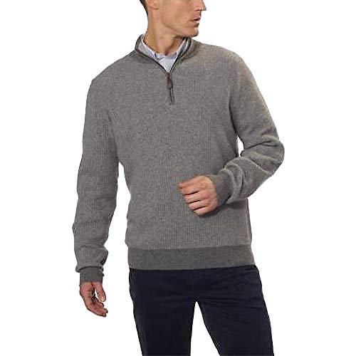 BELFORD Men's Cashmere 1/4 Zip Sweater, Gray Heather/Light Gray, Large