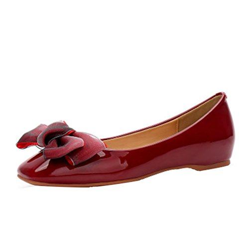 August Toe Decoration Within Flats Square Patent Increased Red Shoes Leather Jim Bowknot Women's Wine r6wUqHr