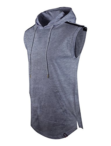 SCREENSHOTBRAND-S11813 Mens Hip Hop Longline Premium Tee - Pullover Sleeveless Hooded Fashion Kangaroo Pockets T-shirt -Grey-Medium