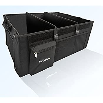 Strong Auto Trunk Organizer for Car, SUV, Truck and Other Vehicles by PEGAFOX - Collabsible Cargo Storage Container – Non Slip Bottom Base - Removable Dividers - Side Pockets