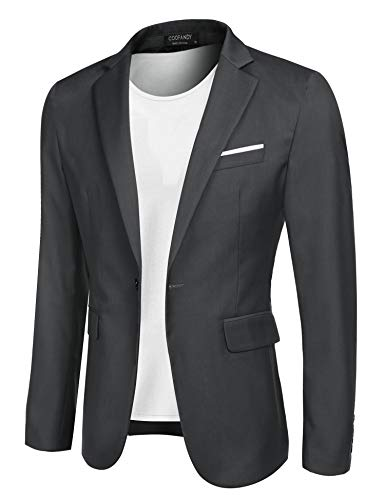 Mens Gray Suit Coat - COOFANDY Men's Casual Blazer Jacket Slim Fit Sport Coats Lightweight One Button Suit Jacket Gray