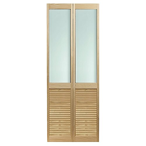 "Pinecroft 895720LB Frosted Half Glass Louvered Bottom Bifold Interior Wood Door, 23.5"" x 78.625"", Unfinished"