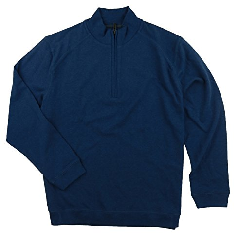 (Kirkland Signature Men's Cotton 1/4 Zip Pullover Sweater (X-Large, Blue Heather))