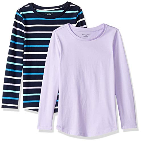 Amazon Essentials Little Girls' 2-Pack Long-Sleeve Tees, Multi Stripe Navy and Lilac, XS (4-5)
