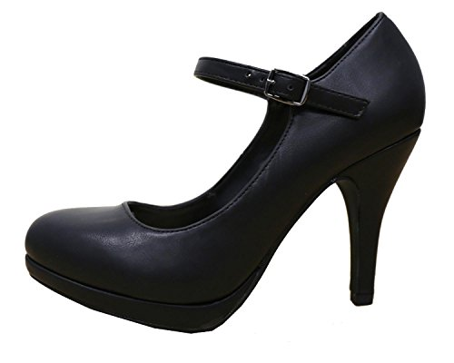 Cambridge Select Womens Mary Jane Buckle Strap Dress Cushioned High Heel Pump Black Wenen Pu