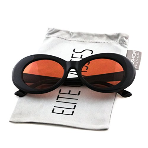 Elite NIRVANA Kurt Cobain Oval Bold Vintage Sunglasses For Women Men (Black-Orange, - Sunglasses Cobain Nirvana Kurt