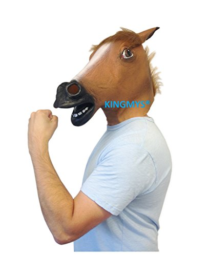 Extremely Scary Halloween Costumes (Kingmys Novelty Creepy Horse Halloween Mask Extremely Funny Jokes Masquerade Scary Masks, Latex Rubber Costume Theater Prop Party, Brown)